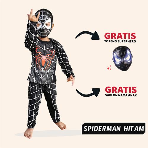 Foto Produk Baju Anak Spiderman Hitam Kostum Superhero Setelan Batman Iron Man - 1-2 Tahun dari Albab Shop