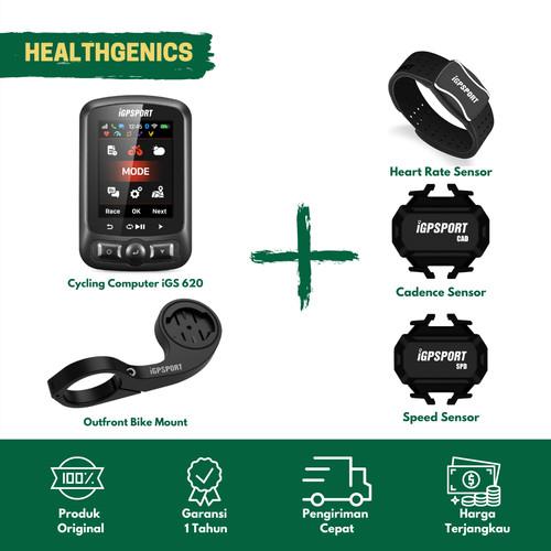 Foto Produk Speedometer sepeda iGPSport iGS 620 Cadence + HRM(Arm) +Speed + Barfly dari Healthgenics