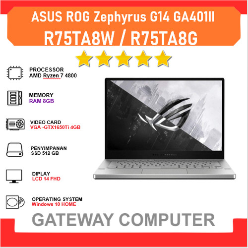 Foto Produk ASUS ROG Zephyrus G14 GA401II Ryzen 7 4800HS 8GB 512GB GTX1650Ti 4GB - GREY dari Gateway Indonesia Comp