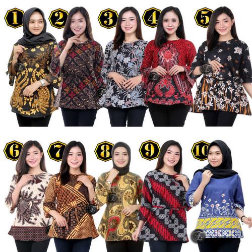 Foto Produk Blouse Batik Murah / Atasan Batik Wanita / Seragam blus M L XL XXL #2 - BLOUSE, M dari Batik Em YS
