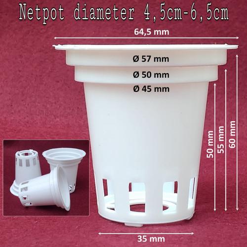 Foto Produk Netpot Putih multi tinggi 6 cm diameter 4.5 -6.5 cm dari Aneka Hidroponik