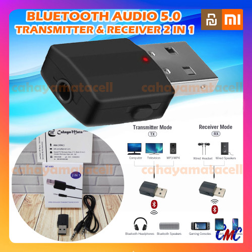 Foto Produk Bluetooth Transmitter Receiver 5.0 Wireless 2 in 1 Audio Portable 2in1 dari CMC Gadget Store