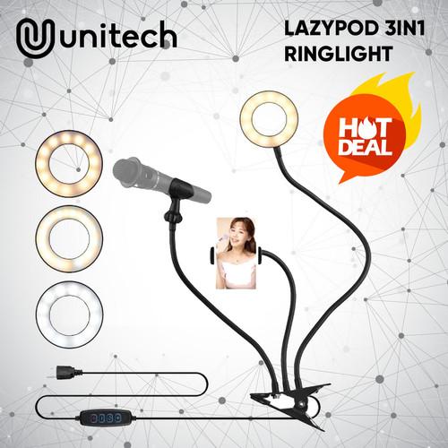 Foto Produk Tripod Lazypod 3in1 Ringlight LED Model Jepit Meja Untuk Vlog TikTok dari Unitech Official