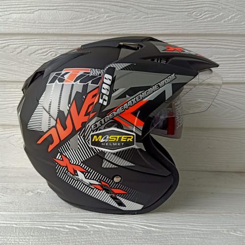 Foto Produk Helm 2 kaca (Double Visor) Murah Black doff Orange Duke BXP SNI dari Master Helmet