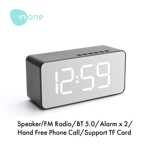 Foto Produk Inone Speaker Bluetooth Wireless with Alarm Clock FM Radio Portable - model rectangle dari Inone Official Shop
