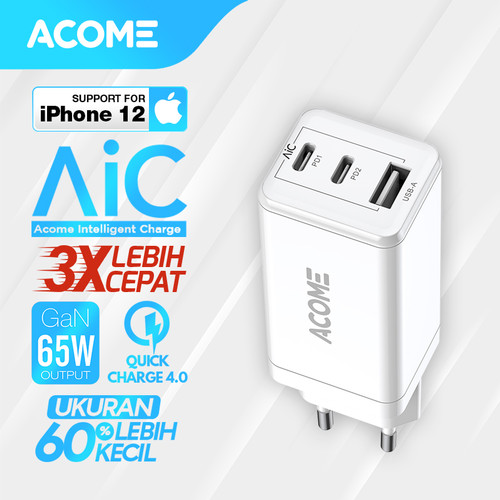 Foto Produk ACOME Charger GaN 65W Fast Charging QC3.0 PD VOOC Support Laptop/iPad - Charger only dari Acome Indonesia
