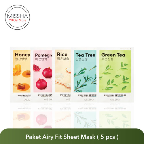 Foto Produk MISSHA AIRY FIT SHEET MASK ( 5 pcs Variant Campur) dari Missha Indonesia