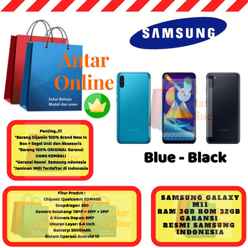 Foto Produk Samsung Galaxy M11 3GB/32GB M 11 3/32 GB 3/32GB Resmi SEIN Blue Black - Hitam dari Antar Online