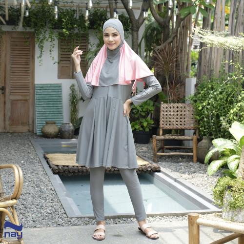 Foto Produk Baju Renang Muslimah - Azalea Swimwear Grey-Pink - S dari Nay Sportswear