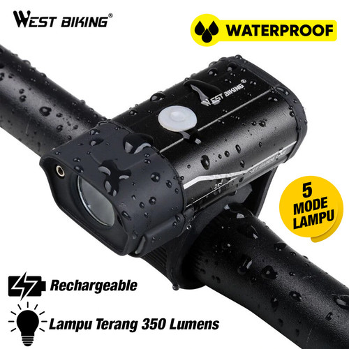 Foto Produk Lampu Depan Sepeda LED USB Rechargeble 350LM West Bikers L6 T2 dari West Biking Indonesia