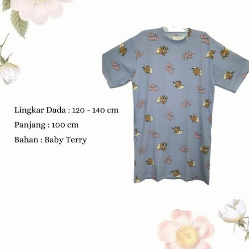 Foto Produk Dress Wanita Jumbo Midi Dress Casual Wanita Dress Karakter Tom & Jerry - Biru Muda dari Poedie