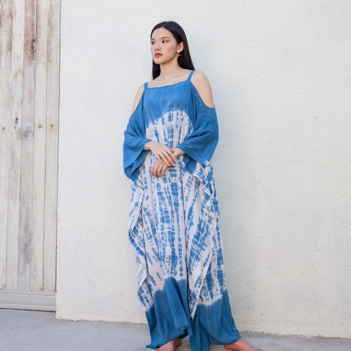 Foto Produk Long Strap Kaftan Light Navy - Nyaman Rayon Premium Biru Dress dari Heart Beads Official