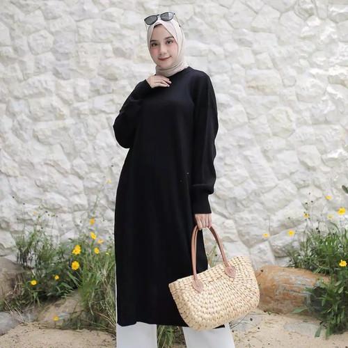 Foto Produk Long Tunik Rajut Tunik Murah - Hitam, M dari Grosir Baju bandung