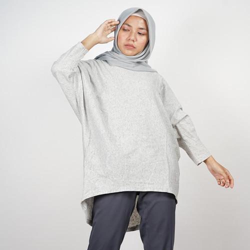 Foto Produk Atasan blouse batwing oversize katun wanita abu misty bigsize premium dari Daily Outfits DYO