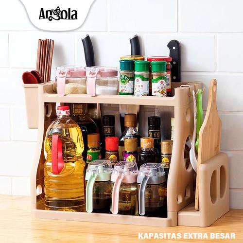 Foto Produk Angola Tempat Bumbu E30 Rak Dapur Rak Kamar Mandi Rak Pisau Rak Bumbu - Putih dari Angola Official Store