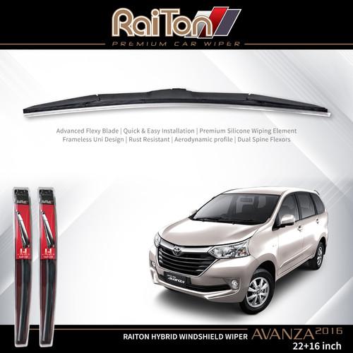 "Foto Produk Raiton Sepasang Wiper Hybrid Kaca Depan Toyota New Avanza 2016 22""&16"" dari Raiton"