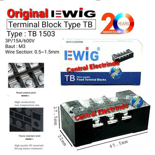 Foto Produk TERMINAL BLOCK EWIG TB 1503 (15A 3Pole). dari central electrindo