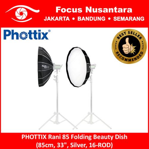 """Foto Produk PHOTTIX Rani 85 Folding Beauty Dish (85cm, 33"""", Silver, 16-ROD) dari Focus Nusantara"""