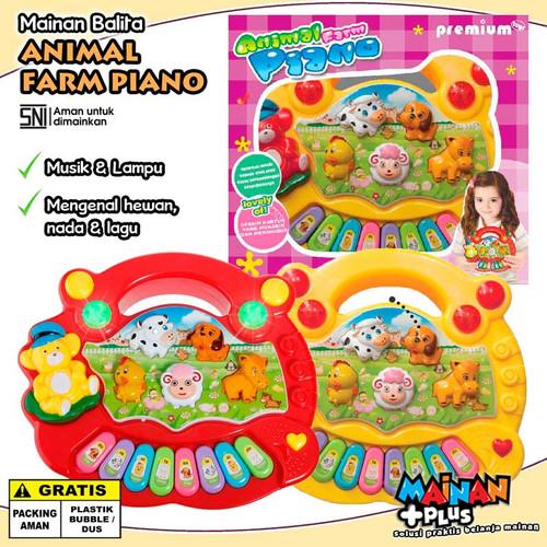Foto Produk Mainan Edukasi Musik Anak Bayi Balita Animal Farm Piano SNI - Merah dari MainanPlus