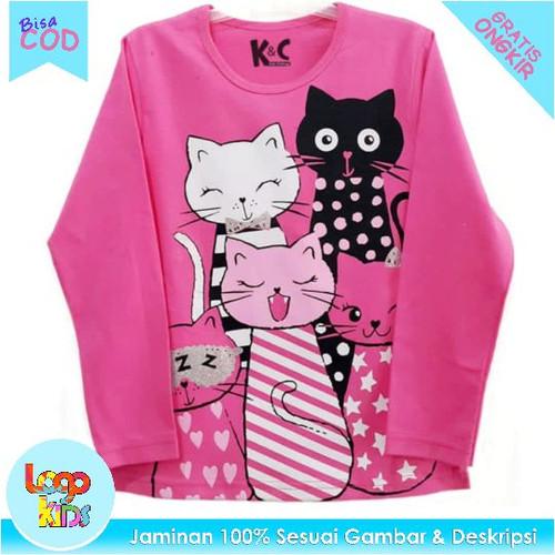 Foto Produk Kaos Anak Lengan Panjang / Baju Anak cewek Five Cats Pink 1-10 Tahun - 1 tahun dari logokids