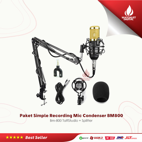 Foto Produk Paket Simple Recording Smule Mic Condenser BM800 Bm-800 + Splitter - Black Gold dari Watchlist Digital