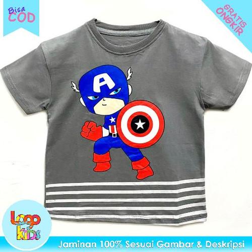 Foto Produk Kaos Anak Murah Lengan Pendek Logokids Kapten Amerika 1-10 Tahun - 1 tahun dari logokids