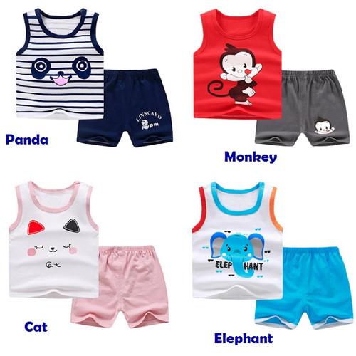Foto Produk Set 0-6 tahun Baju Tanpa Lengan Bayi dan Celana Pendek, Singlet Anak - elephant, 73 dari 3dwarfsbatam