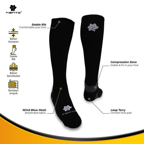 Foto Produk Tiento Long Compression Socks Black Kaos Kaki Olahraga Ketat Panjang - M dari TIENTO