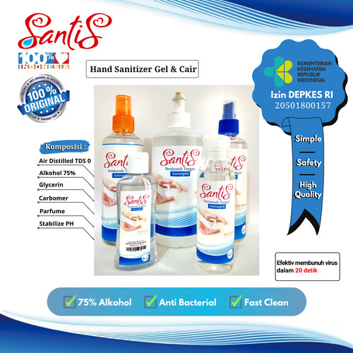 Foto Produk Hand sanitizer Santis Gel & Cair - 60ml dari Santis Jaya Nusantara