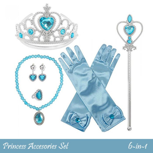 Foto Produk Tongkat Mahkota Tiara Aksesoris Kostum Princess Anak - 6in1 - Biru Muda dari Bebeology
