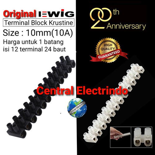 Foto Produk Terminal Krustin 10mm 10A EWIG (Putih/Hitam). - Hitam dari central electrindo