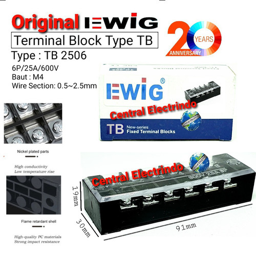 Foto Produk TERMINAL BLOCK EWIG TB 2506 (25A 6Pole). dari central electrindo