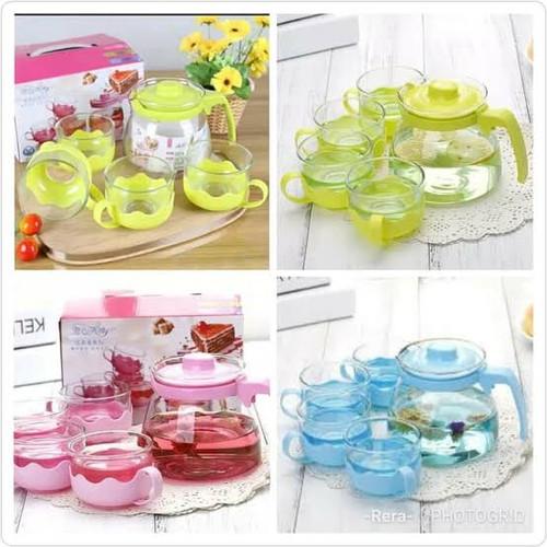 Foto Produk Tea Pot Set 5 In 1 Sun Glass - Paket Teko Gelas Cangkir Tempat Minum dari Fortuna Acc