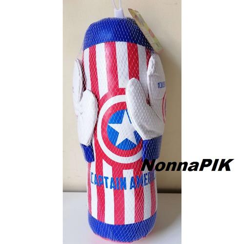 Foto Produk Mainan Anak Samsak Sarung Tinju Boxing Set Captain America Amerika dari NonnaPIK
