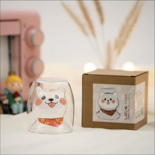 Foto Produk UCHII Akita Happy Series Double Wall Drinking Cup | Gelas Gift Premium - Transparan dari uchii store