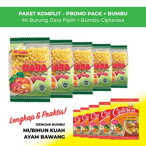 Foto Produk Mi Burung Dara Pipih + Bumbu Ciptarasa Kuah Ayam Bawang (5 pcs) dari BURUNG DARA OFFICIAL