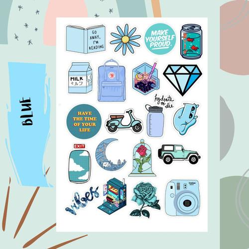 Jual Sticker Aesthetic Tumblr Blue Case Hp Laptop Journal Book S Kota Bekasi Lesliegoods Tokopedia