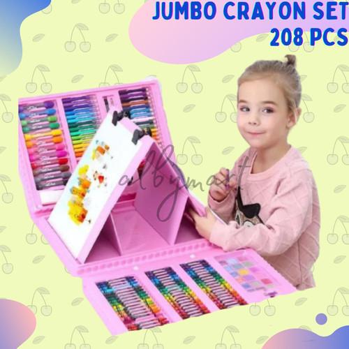Foto Produk Crayon Anak Set Isi 208 Pcs Pensil Warna Alat Lukis Set Crayon Set - pink dari Kids Heaven Official