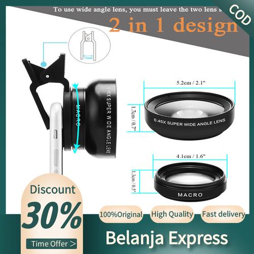 Foto Produk 2in1 Lens 0.45X Wide Angle+12.5X Macro Lens Professional HD Phone Came - Hitam dari Belanja Express