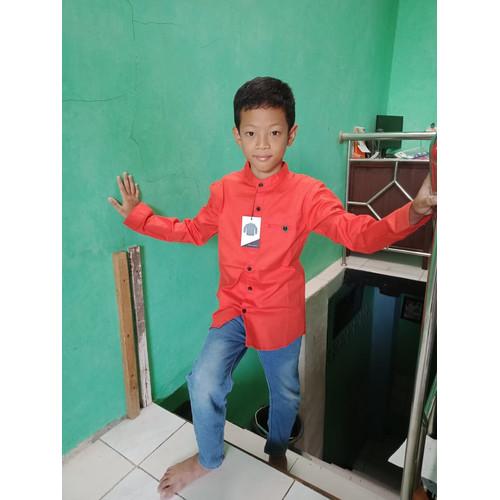 Foto Produk Kemeja Koko Anak ABG Tanggung 11 – 12 – 13 Tn Tangan Panjang - Orange, 11-12 tahun dari Zarka Baby Shop