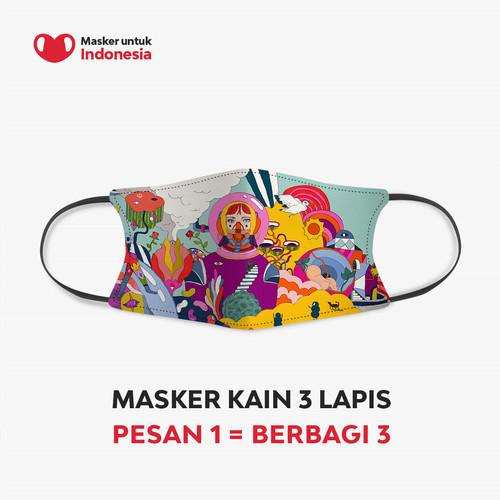 Foto Produk Masker Kain 3 Lapis (3 Ply) Earloop - Desain oleh Diela Maharanie dari Masker untuk Indonesia