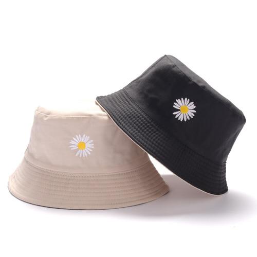 Foto Produk Topi Bucket Dua Sisi Anti Uv Motif Bordir Bunga Daisy Bahan Katun Twil - Krem - Hitam dari AF_Collection_new