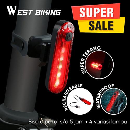 Foto Produk Lampu Sepeda Belakang LED Rechargeable West Biking Lampu Sepeda Mini dari West Biking Indonesia