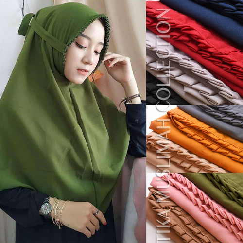 Foto Produk Hijab Bergo Maryam Lipit Diamond / Jilbab Gerigi / Kerudung Bergo Hit - Mocca dari Tika Muslimah Collection