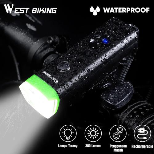 Foto Produk Lampu Depan Sepeda LED USB Rechargeble West Biking HJ047 Sensor Lamp - Hitam dari West Biking Indonesia