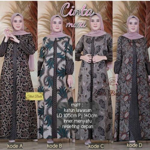 Foto Produk Gamis Batik Wanita Baju Atasan Syari Dress Muslim Panjang modern - GAMIS KODE A, L dari Mampier Batik