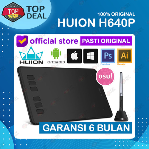 Foto Produk Huion H640P Graphic Drawing Pen Tablet For OSU Game alt HS64 - Tanpa Glove dari Top Deal