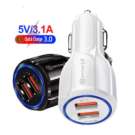 Foto Produk Charger Mobil Quick Car Fast charging Casan Qualcomm 3.1 Dual USB - Putih dari mulia-electric
