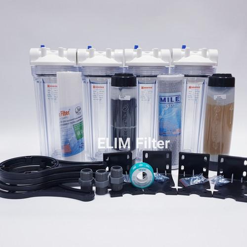 Foto Produk Filter Air Sumur - Filter Air Ledeng 4 Housing 10 inch 5 Tahap - CLEAR - Drat 1 per 2 dari ELIM FILTER