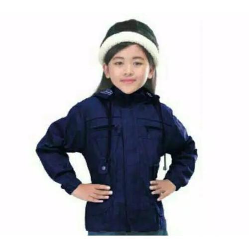 Foto Produk JAKET PARKA ANAK PEREMPUAN KANVAS USIA 7-13 TAHUN - Biru, M (11-13 Tahun) dari Anggi Colection Shop